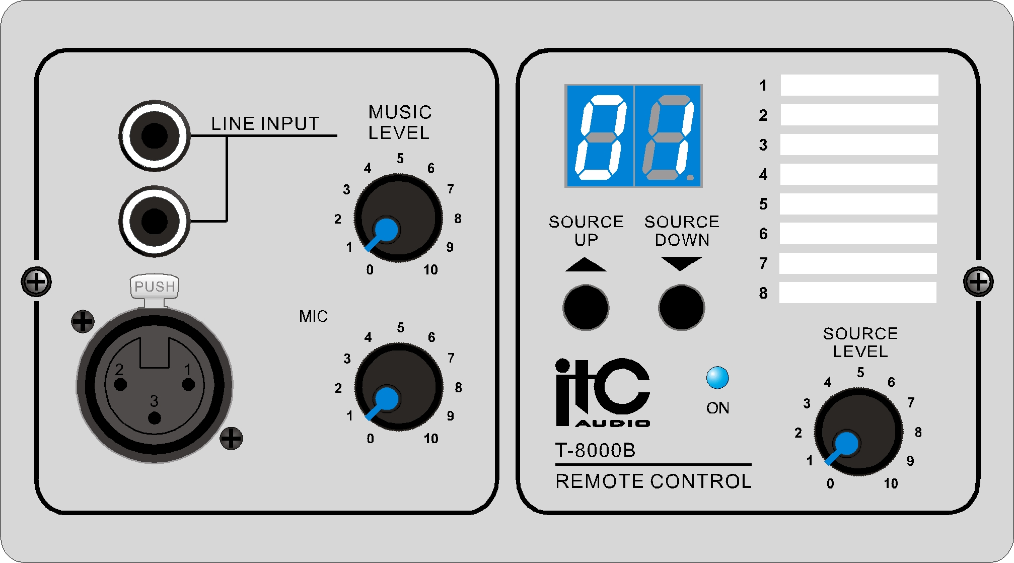 remote control panel for audio matrix  c 2inputs